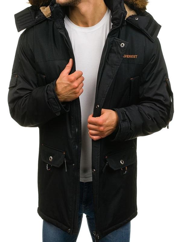 Čierna pánska zimná bunda parka BOLF 0490