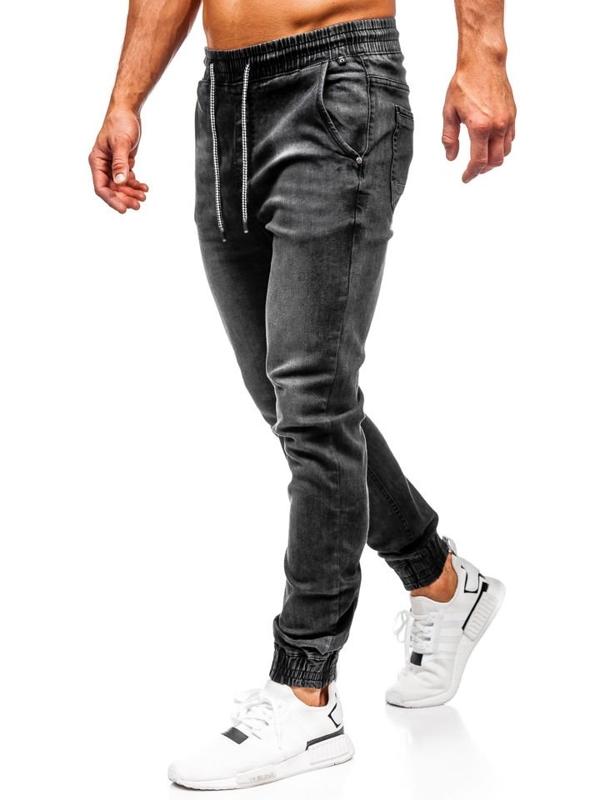 Čierne pánske rifľové joggery Bolf  KA1073