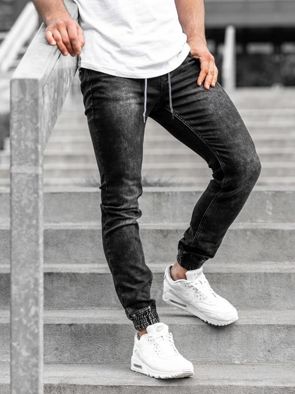 Čierne pánske rifľové joggery Bolf  KA1075