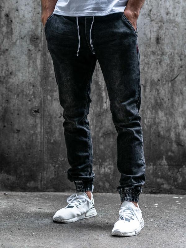 Čierne pánske rifľové joggery Bolf  KA1079