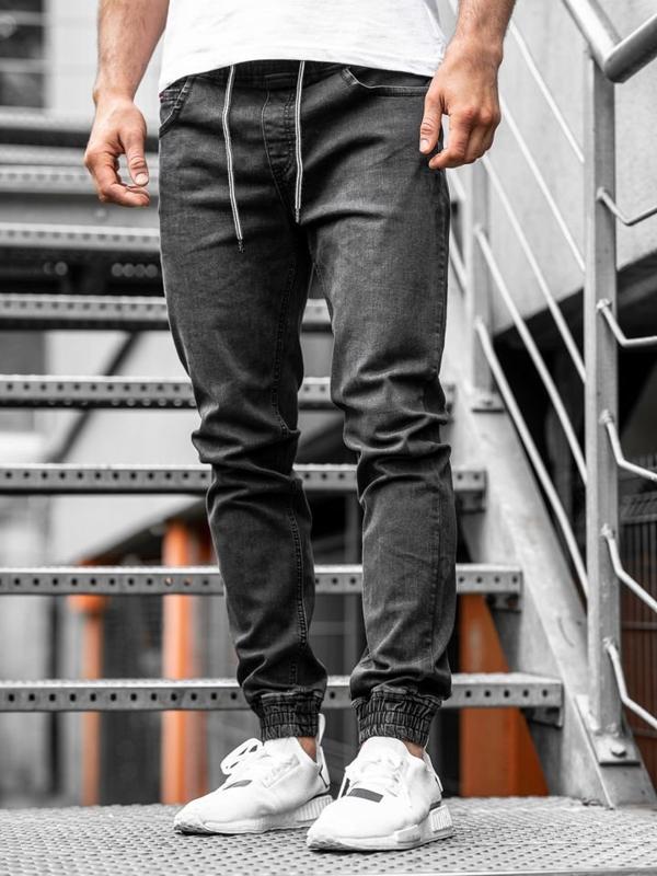 Čierne pánske rifľové joggery Bolf  KA1101