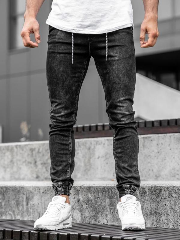 Čierne pánske rifľové joggery Bolf  KA1278