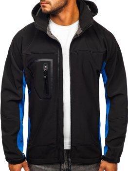 Čierno-modrá pánska softshellová bunda Bolf T019