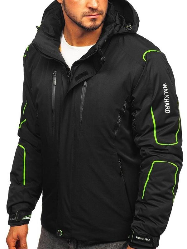 Čierno-zelená pánska lyžiarska zimná bunda Bolf A5625