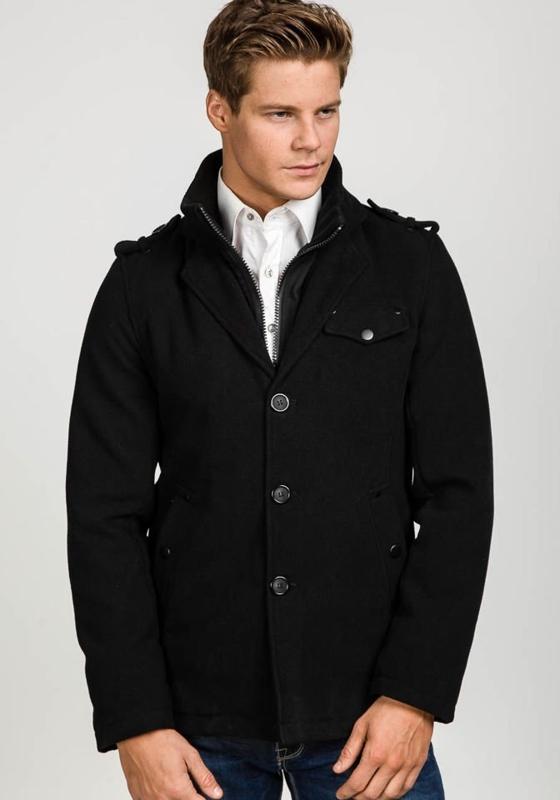 Čierny pánsky zimný kabát BOLF 1394