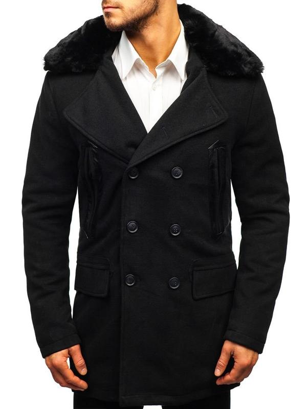 Čierny pánsky zimný kabát BOLF 88872