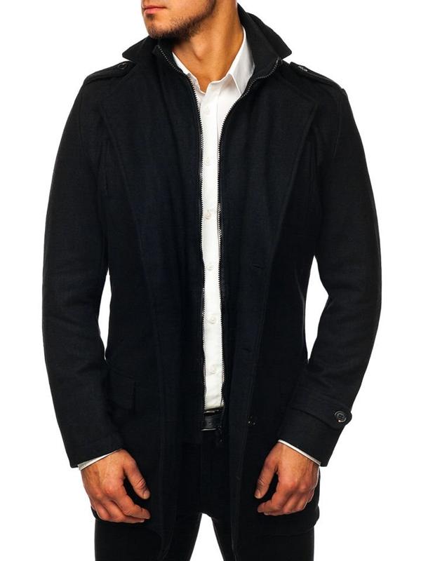Čierny pánsky zimný plášť BOLF NZ02