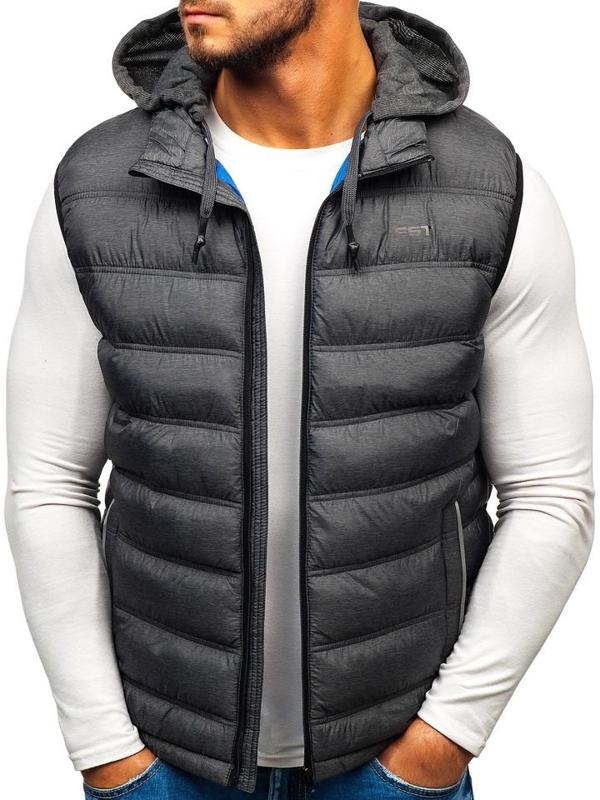 Grafitová pánska prešívaná vesta s kapucňou BOLF AB030