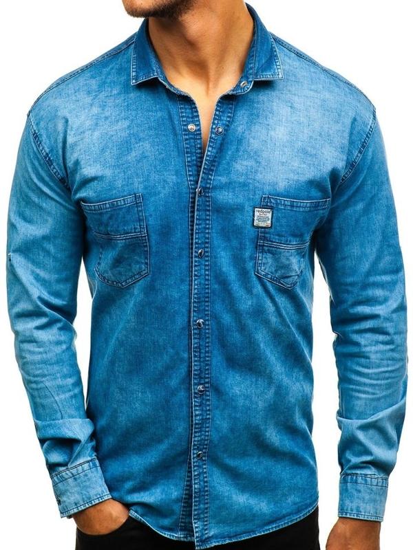 Modrá pánska riflová košeľa s dlhými rukávmi BOLF 2642