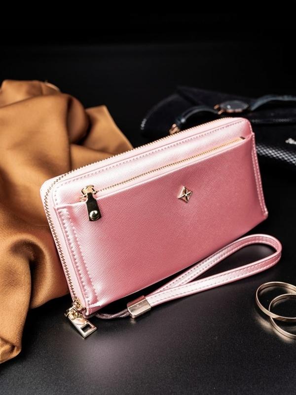 Ružová dámska koženková peňaženka 1810