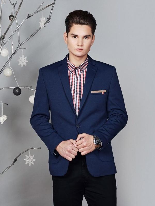 Štylizácia č. 372 - elegantné sako, károvaná košeľa, chinos nohavice