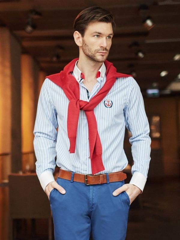 Štylizácia č. 396 - sveter s výstrihom do V, prúžkovaná košeľa, chinos nohavice