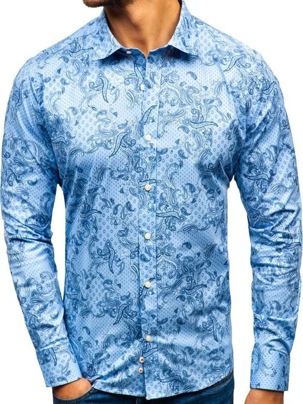 Svetlomodrá pánska vzorovaná košeľa s dlhými rukávmi BOLF 301G74