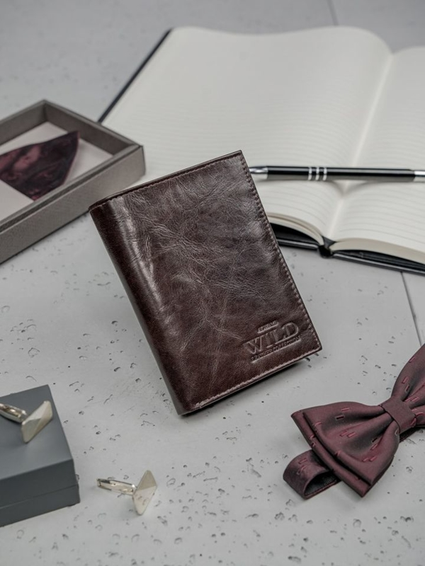 Tmavohedná pánska kožená peňaženka 3194