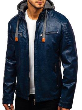 Tmavomodrá pánska koženková bunda BOLF ex708