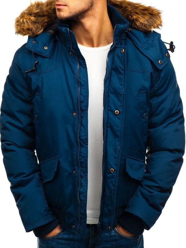 Tmavomodrá pánska zimná bunda BOLF 40137