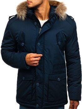 Tmavomodrá pánska zimná bunda Bolf 1633