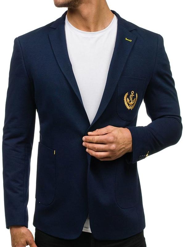 Tmavomodré pánske elegantné sako BOLF P10