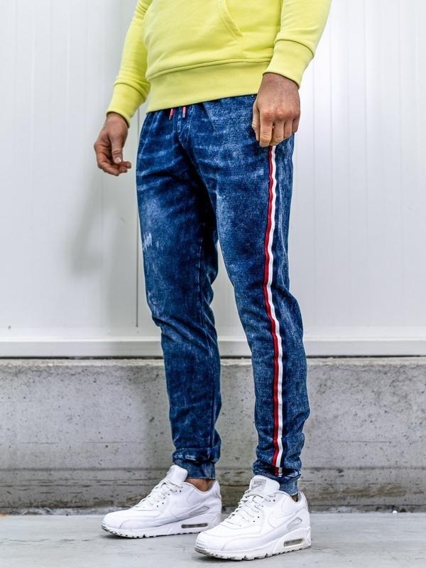 Tmavomodré pánske rifľové joggery BolfKK1050
