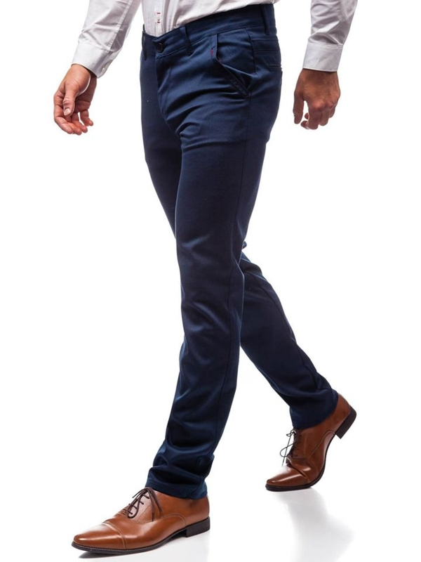 Tmavomodré pánske spoločenské nohavice BOLF 7616