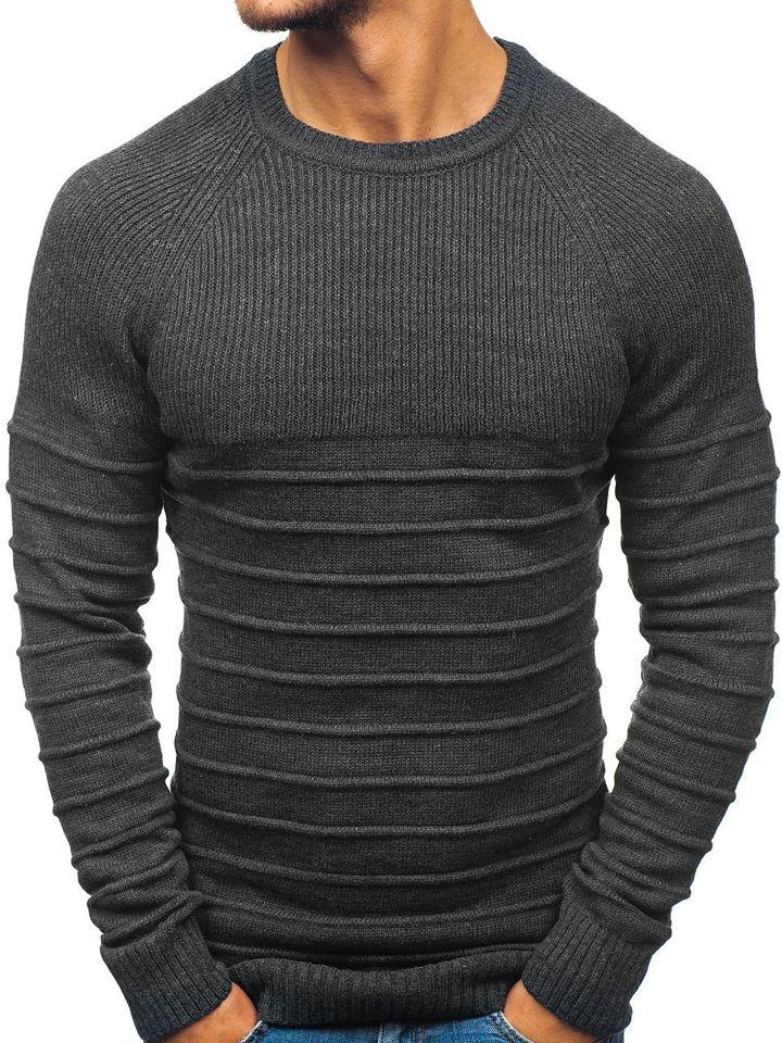 2061ab6c1a07 Antracitový pánsky sveter BOLF 161