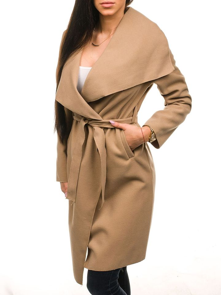 Béžový dámsky dlhý kabát BOLF 1729 85681b04709