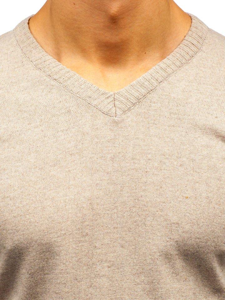 c7e1b6b94 Béžový pánsky sveter s výstrihom do V BOLF 6002
