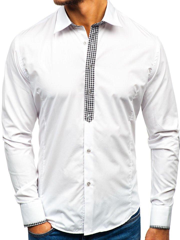3bb05e9f46e9 Biela pánska elegantná košeľa s dlhými rukávmi BOLF 0939