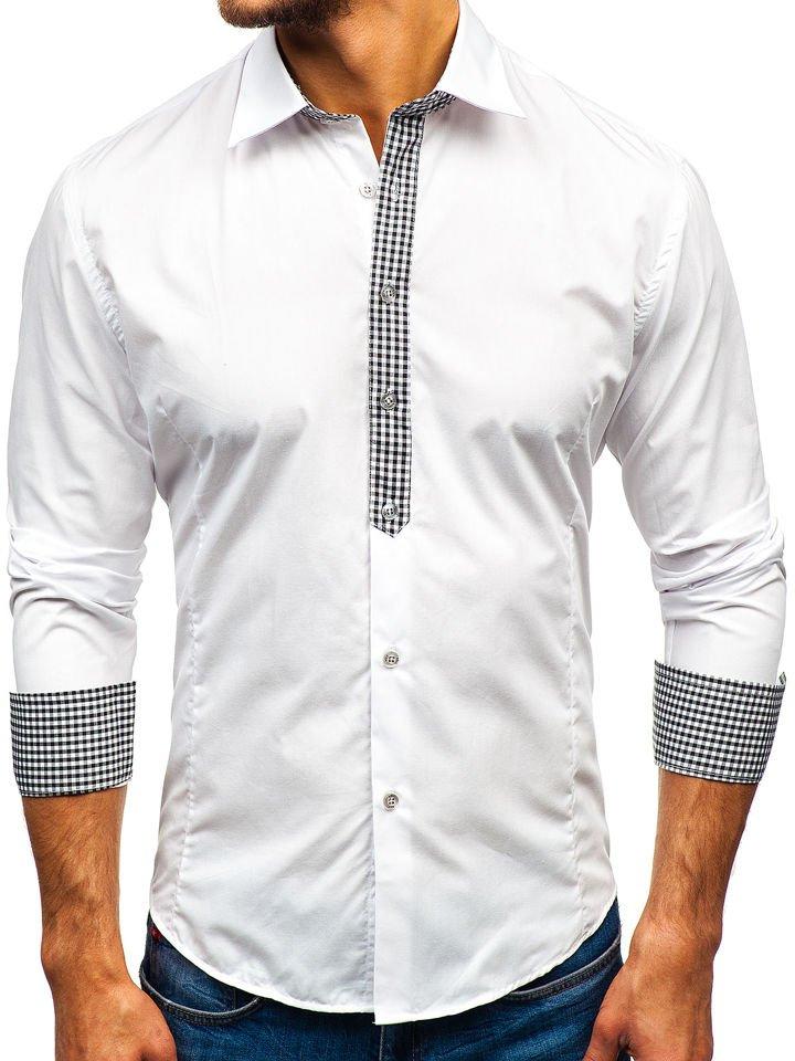 67d56db881cd Biela pánska elegantná košeľa s dlhými rukávmi BOLF 0939