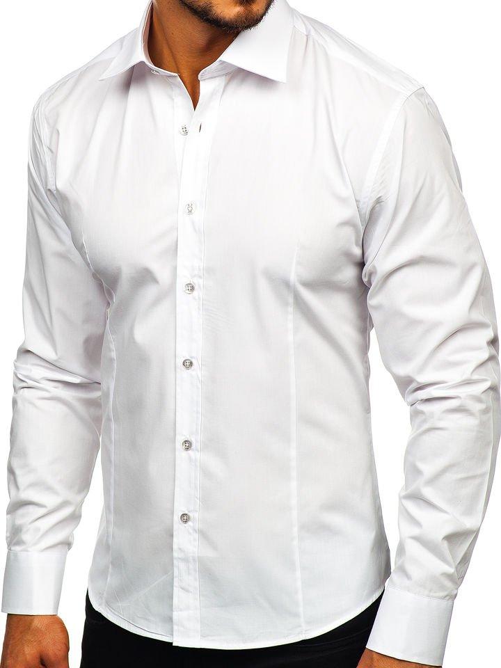 de6355195158 Biela pánska elegantná košeľa s dlhými rukávmi BOLF 1703