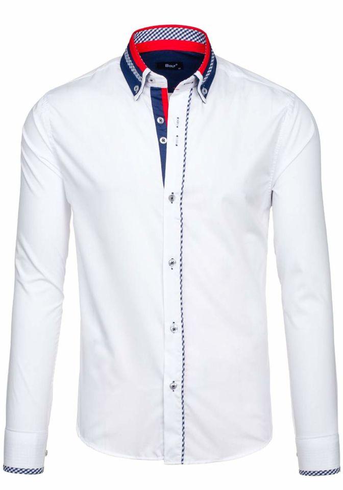 7ccb7e8d5be3 Biela pánska elegantná košeľa s dlhými rukávmi BOLF 6874