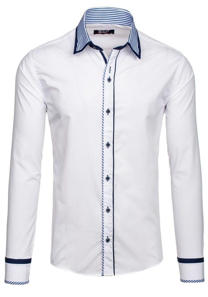 9b37afeb7262 Biela pánska elegantná košeľa s dlhými rukávmi BOLF 6935