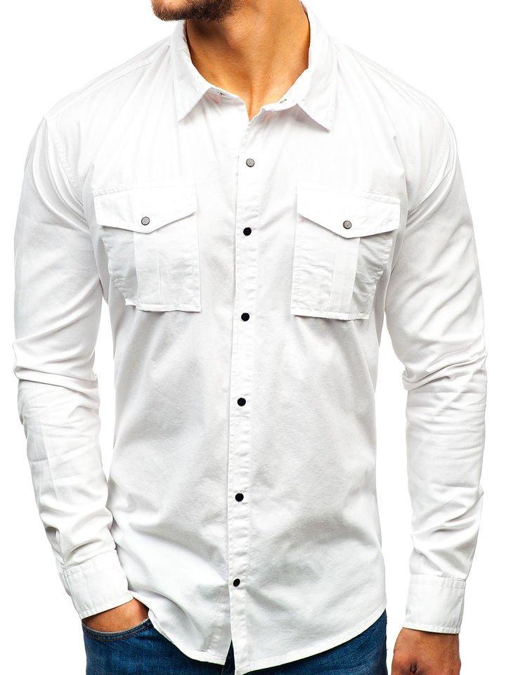 0876f15fb9df Biela pánska košeľa s dlhými rukávmi BOLF 2058-1