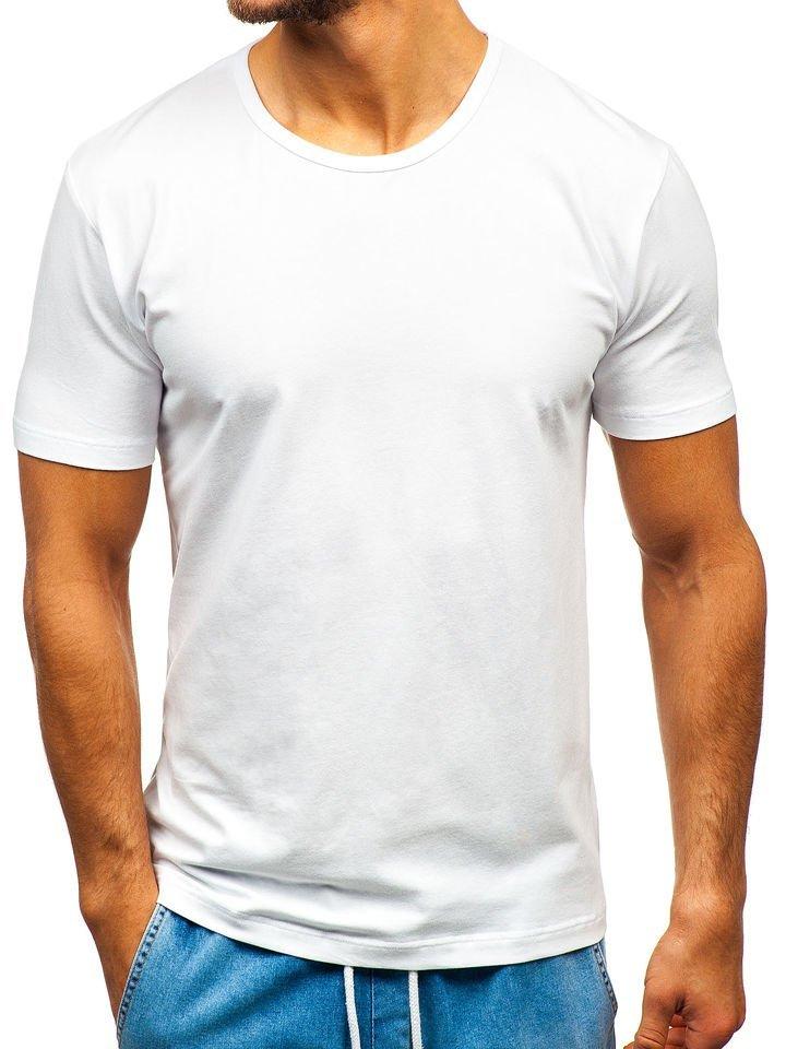 476598d23 Biele pánske tričko bez potlače BOLF T1279