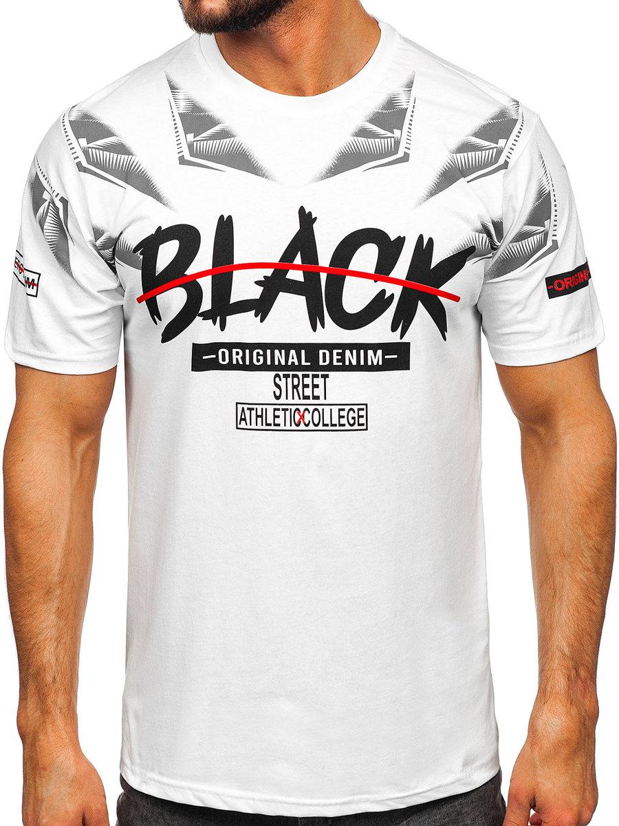 2e33b7ddd1674 Biele pánske tričko s potlačou BOLF 14208