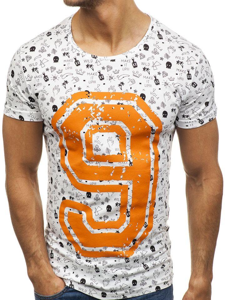 41862c1eabda2 Biele pánske tričko s potlačou BOLF 2101