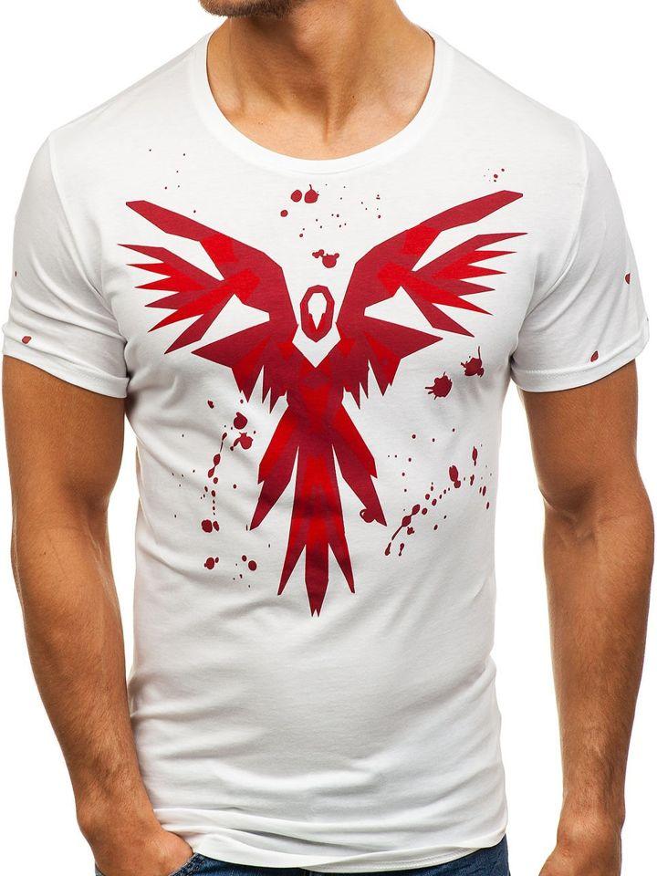 a11b4e488df4f Biele pánske tričko s potlačou BOLF 300