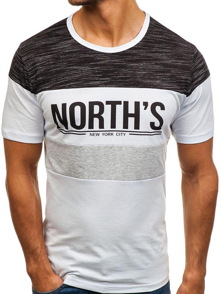 7005a4d6a4b9e Biele pánske tričko s potlačou BOLF 6307