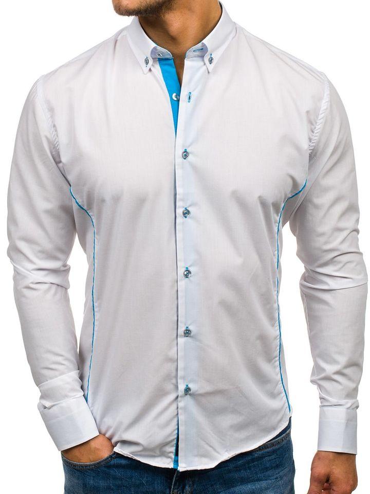 54fa33284d8e Bielo-blankytná pánska elegantná košeľa s dlhými rukávmi BOLF 5722-1