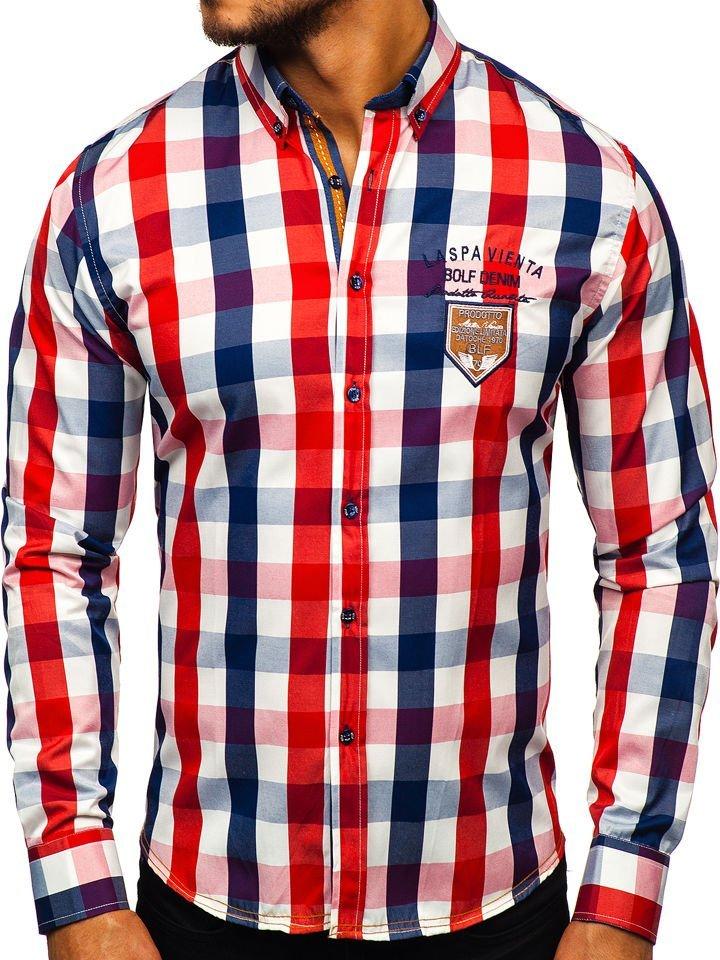 6bd72209e66e Červená pánska károvaná košeľa s dlhými rukávmi BOLF 1766-1