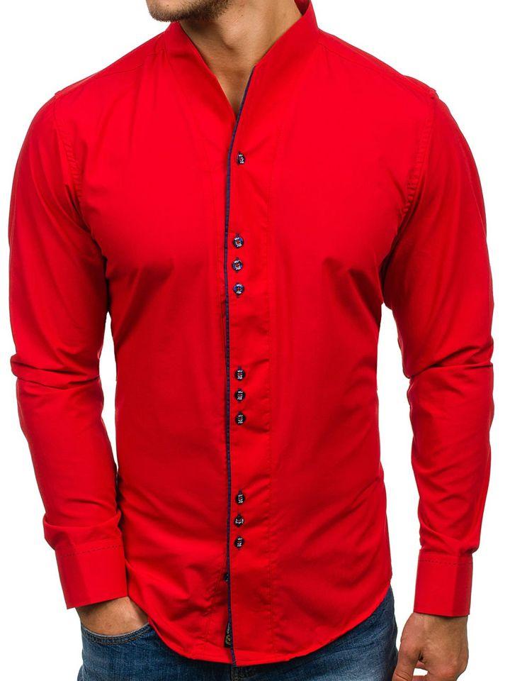 0e7242abe7cc Červená pánska košeľa s dlhými rukávmi BOLF 5720