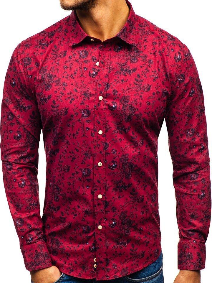 bad1d78cba60 Červená pánska vzorovaná košeľa s dlhými rukávmi BOLF 200G7