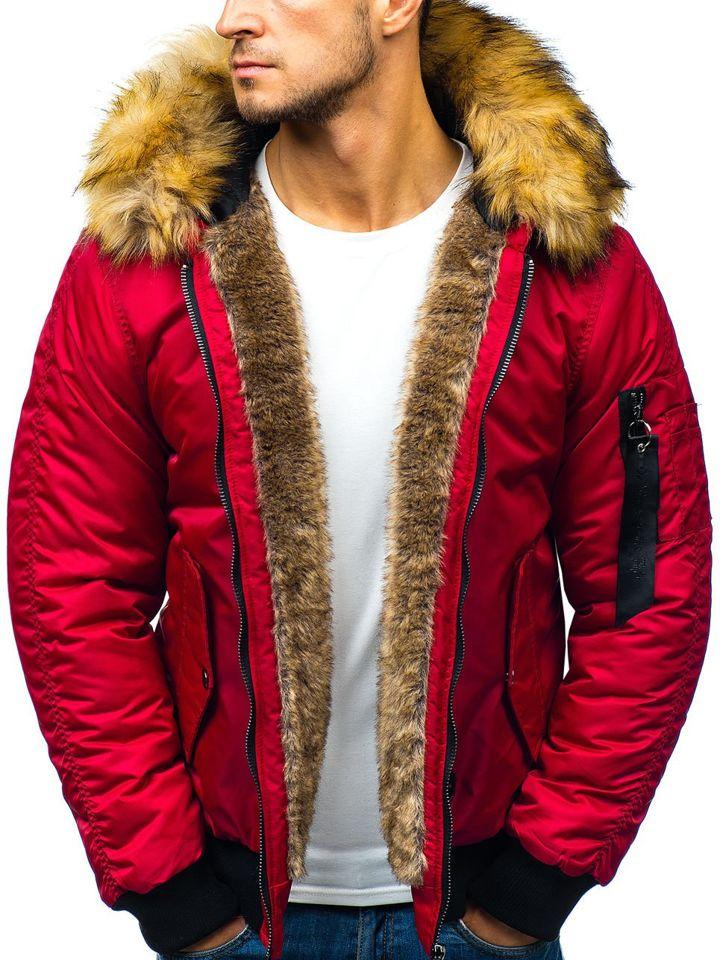 943bfc357 Červená pánska zimná bunda BOLF 5306