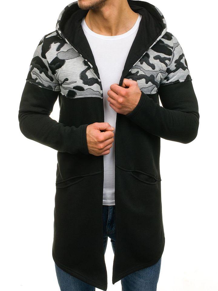 3a937e94e847 Čierna pánska mikina s kapucňou BOLF 9117