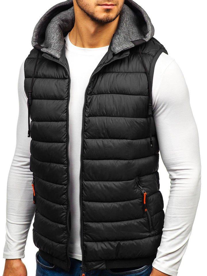 Čierna pánska prešívaná vesta s kapucňou BOLF 1261 a10e30d7724