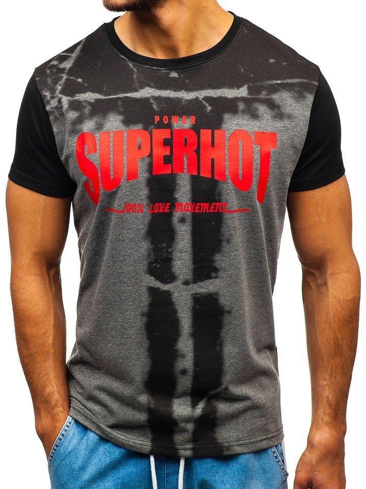 63924a29b637c Čierne pánske tričko s potlačou BOLF 10880