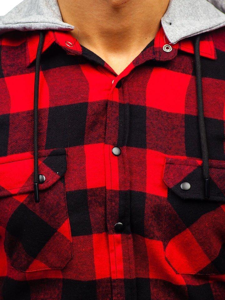 bac311a40c9f Čierno-červená pánska flanelová košeľa s dlhými rukávmi BOLF 1031