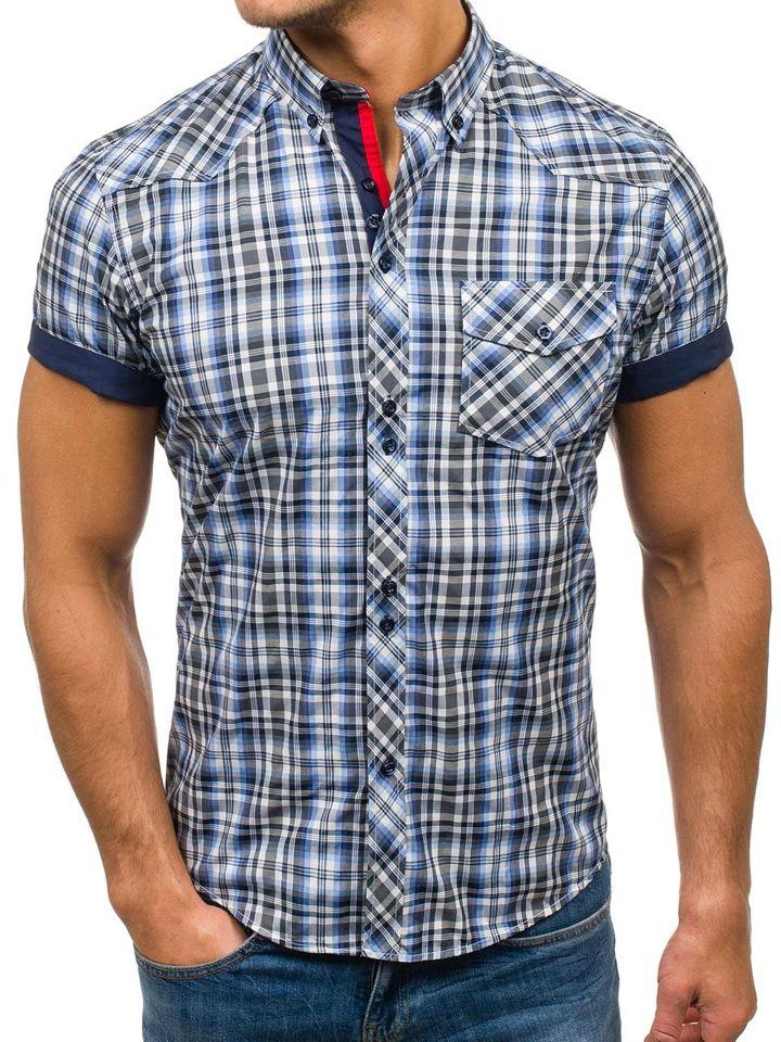 9fe59b540b Čierno-modrá pánska kockovaná košeľa s krátkymi rukávmi BOLF 5206