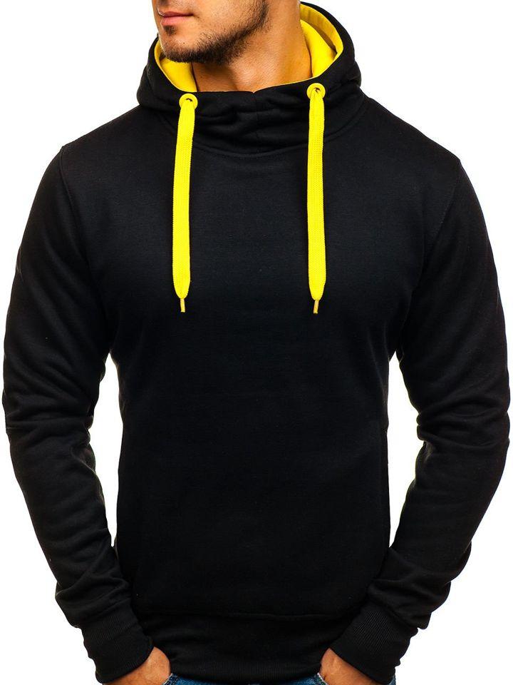 359f36bab Čierno-žltá pánska mikina s kapucňou BOLF 2072