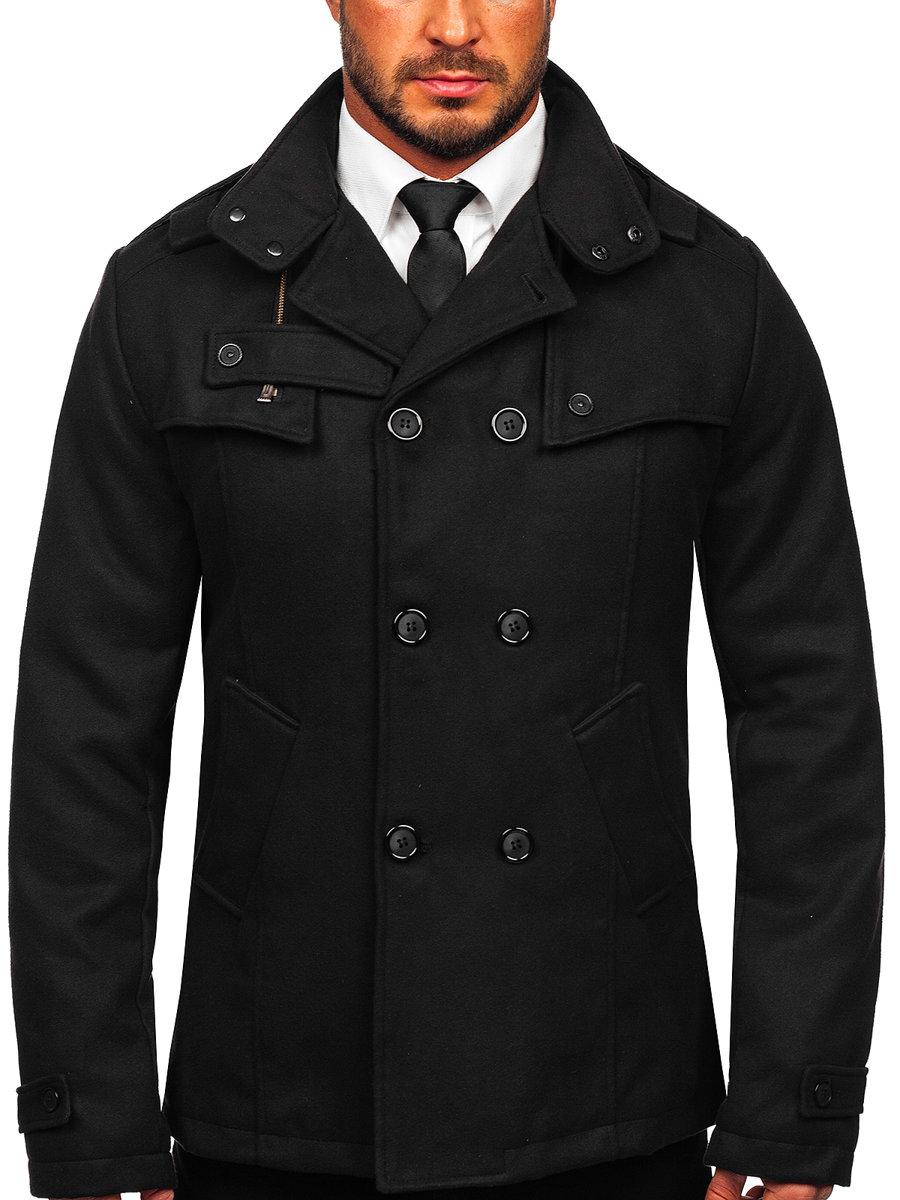 Čierny pánsky kabát BOLF 8857 4a329219fd4